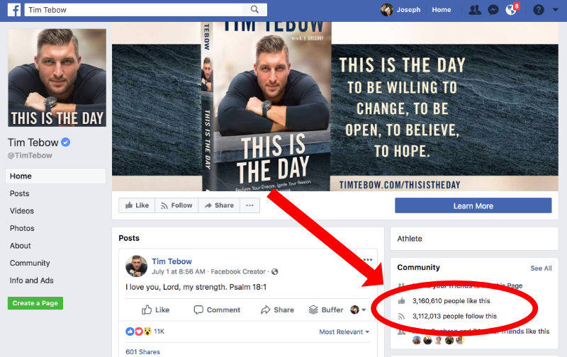 Tim Tebow Thought Leader Facebook
